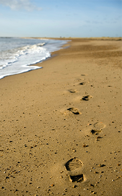 Footsteps on the sand at Clacton