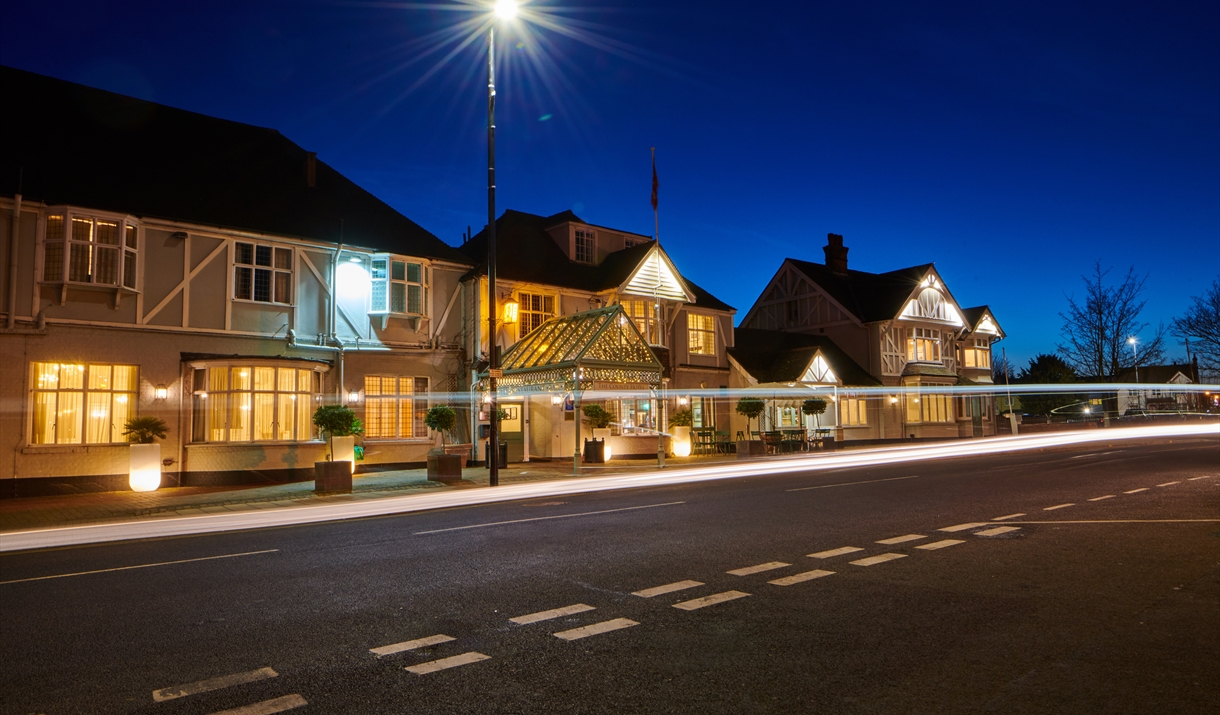 Front of the County Hotel at Night